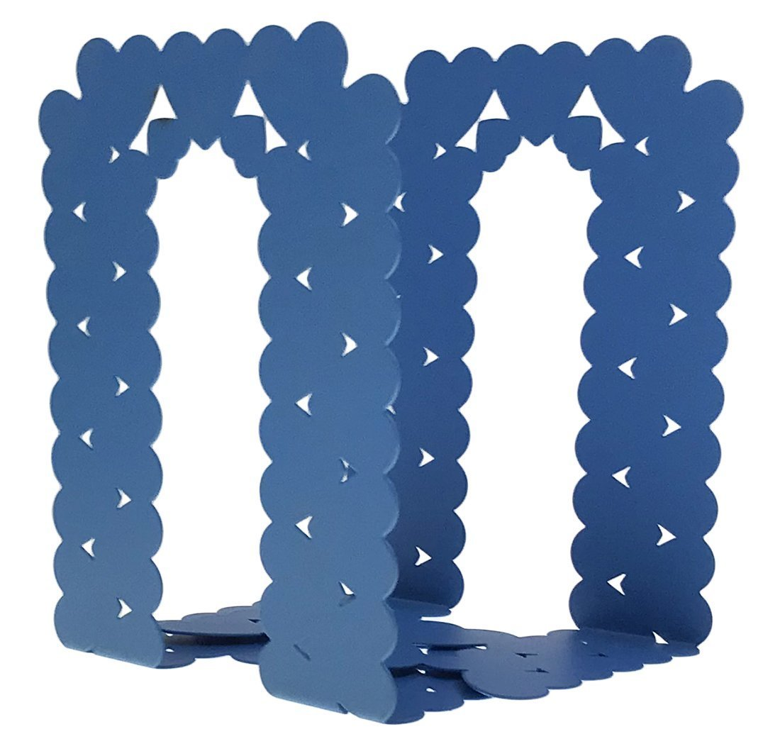 Unigift A Pair of Love Heart Shape Pattern Nonskid Metal Bookends for Kids Children Bedroom Library School Office Desk Study Gift Blue
