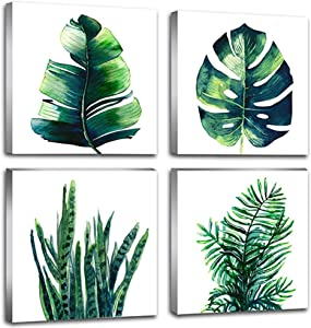Natural Simple Wall Art Green Leaf Canvas Prints Decor Watercolor Tropical Plant Minimalist Botanical Artwork Bathroom Bedroom Boho Home Decoration Painting Pictures Framed Set of 4 Pcs 8 × 8 Inch