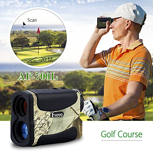 Eyoyo Golf Range Finder Hunting Distance Meter Speed Measurer 5-700 Yard 6X Multifunction with Ranging, Scan, Flagpole Lock, Fog and Speed Function