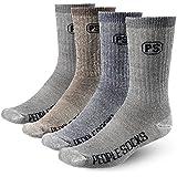 4pairs 71% Premium Merino Wool Crew Hiking Socks Made in USA People Socks