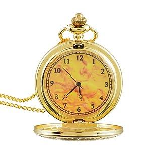 Souarts Gold Color Long Chain Numerical Round Quartz Analog Pocket Watch 83cm