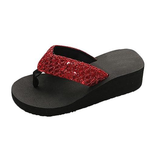 Zarupeng Damen Sommer Pailletten Anti Rutsch Sandalen Pantoletten Plattform Outdoor Flip Flops Zehentrenner