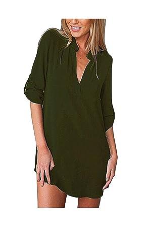 8302b2211573 YiYaYo T-Shirt Dress Chiffon Cuffed 3/4 Sleeve Blouse V Neck Plus Size