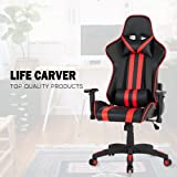 LIFE CARVER Gaming Chair Racing Chair High Back Executive Office Recliner Faux Leather (Red)