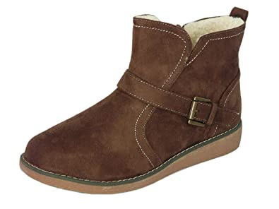 5930f06cae17d Cushion Walk Women's Low Wedge Faux Suede Fleece Lined Ankle Boots With  Buckle Detail and Zip Fastening Size 3-8