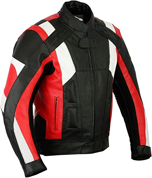 Texpeed Herren Motorradjacke Mit Protektoren Leder Rot Weiß M 101 60cm Bekleidung