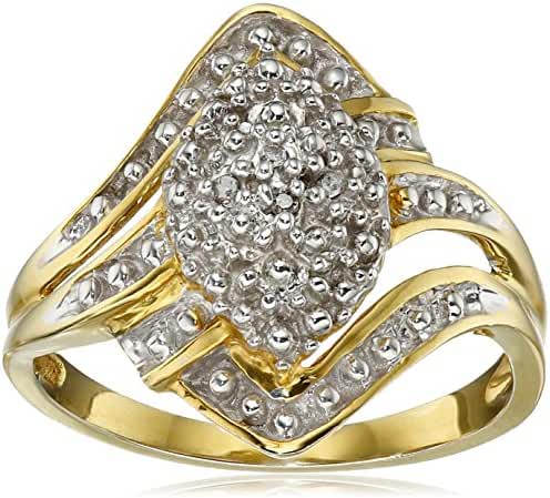 Sterling Silver with Yellow Gold Plating Diamond Ring, Size 7