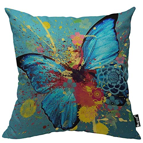 Mugod Butterfly Decorative Throw Pillow Cover Case Watercolor Butterflies Lotus Flower Bold Splash Doodle Cotton Linen Pillow Cases Square Standard Cushion Covers for Couch Sofa Bed 18x18 Inch