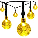 Solar String Lights,easyDecor 30 LED Crystal Ball 21ft Warm White 8 Mode Waterproof Decorative Globe Light for Christmas,Thanksgiving,Outdoor,Indoor,Party,Wedding,Garden Decoration(Warm White)