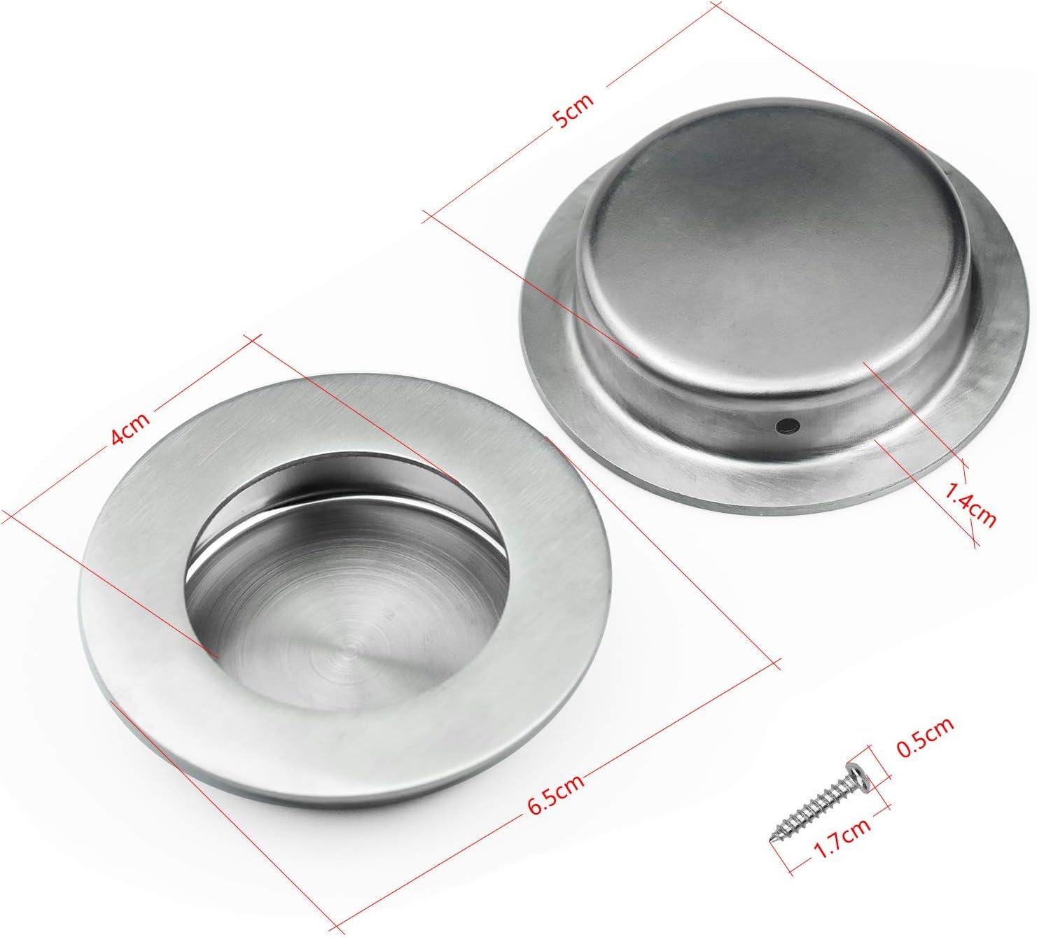 en Acier Inoxydable Poign/ées Rondes 50 x 65 mm Zaleonline 4 pi/èces Boutons de Commode Ronds pour Portes coulissantes