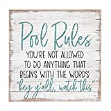 Cheap Sincere Surroundings Perfect Pallets 14″ x 14″ Wood Sign, Pool Rules