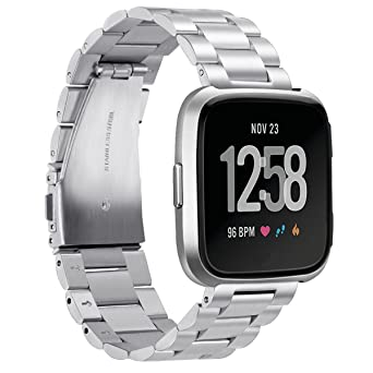 EloBeth Compatible with Fitbit Versa Lite Editon Bands, Stainless Steel Strap Band Metal Wristbands Replacement for Fitbit Versa Watch (Silver)