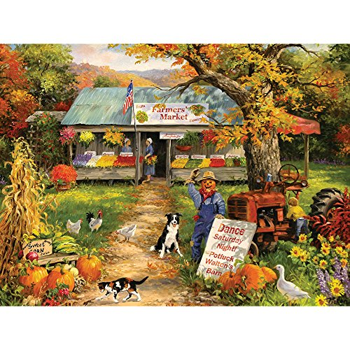 Bits and Pieces - 300 Large Piece Jigsaw Puzzle for Adults - Farmer's Market - 300 pc Autumn Scene Jigsaw by Artist Linda Picken