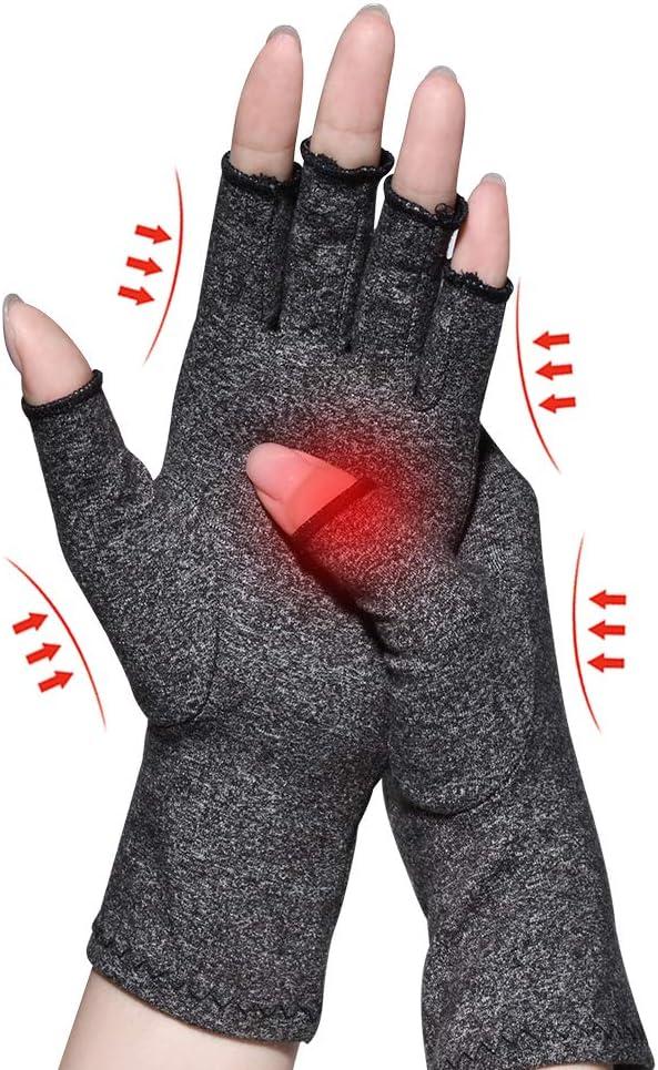 Gants d'arthrite, matériau de compression pour soulager la douleur de l'arthrite arthrite, arthrose rhumatoïde et tunnel carpien, gants de compression et sans doigts pour la dactylographie et le travail quotidien.