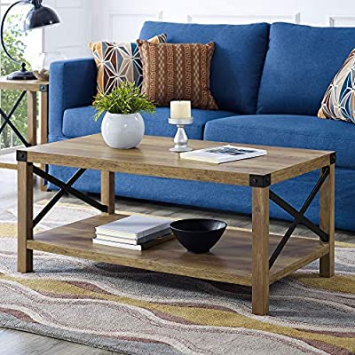 "Walker Edison Furniture Company AZF40MXCTRO Rustic Modern Farmhouse Metal and Wood Rectangle Accent Coffee Table Living Room Ottoman Storage Shelf, Reclaimed Barnwood - Dimensions: 18"" H x 40"" L x 22"" W Pair with matching side table for a complete living room set High-grade MDF and laminate table top - living-room-furniture, living-room, coffee-tables - 617enCnQXYL. SS400  -"