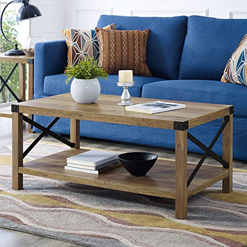 WE Furniture AZF40MXCTRO Coffee Table, Rustic Oak