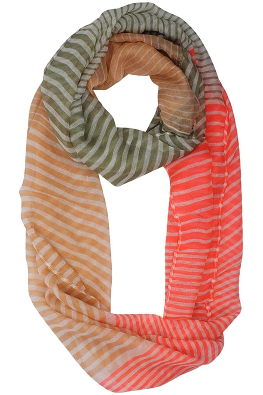 Luxury Divas Peach Tan & Pink Thin Stripe Lightweight Infinity Scarf