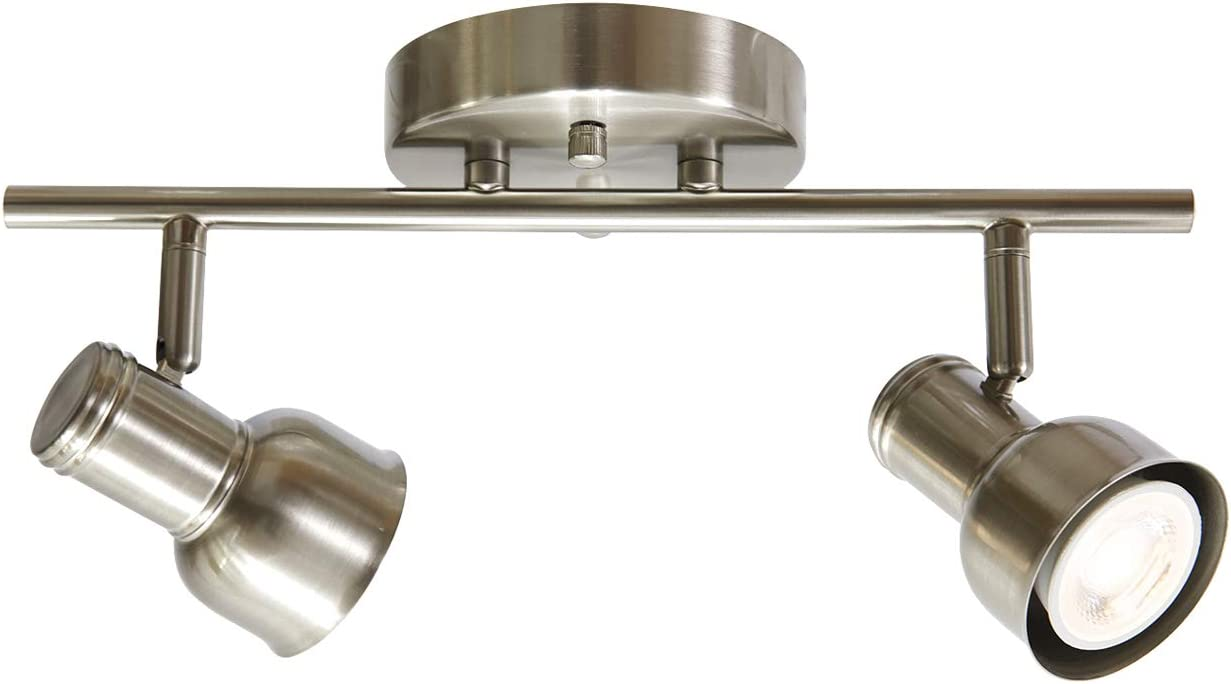 Todoluz 2 Light Led Track Lighting Gu10 Bulb Included For Kitchen Hallway Living Room Adjustable Ceiling Light Fixtures In Brushed Nickel Finish Amazon Com