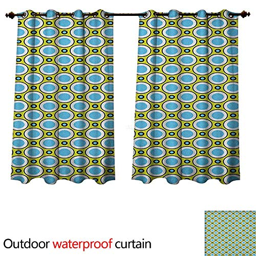 Geometric 0utdoor Curtains for Patio Waterproof Retro Circles with Dots Round Design Elements Vintage Inspirations W120 x L72(305cm x 183cm)