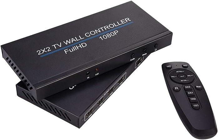 JMT 4 Canales Full HD 1080P TV Pared Controlador 2x2 4x1 para HDMI V1.4 1080p TV Imagen Empalme Pantalla DC 12V Pared de vídeo Controlador: Amazon.es: Hogar