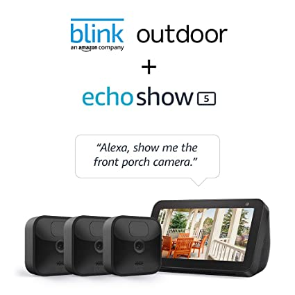 Amazon.com: Echo Show 5 (Charcoal) with All-new Blink Outdoor- 3 camera kit: Amazon Devices