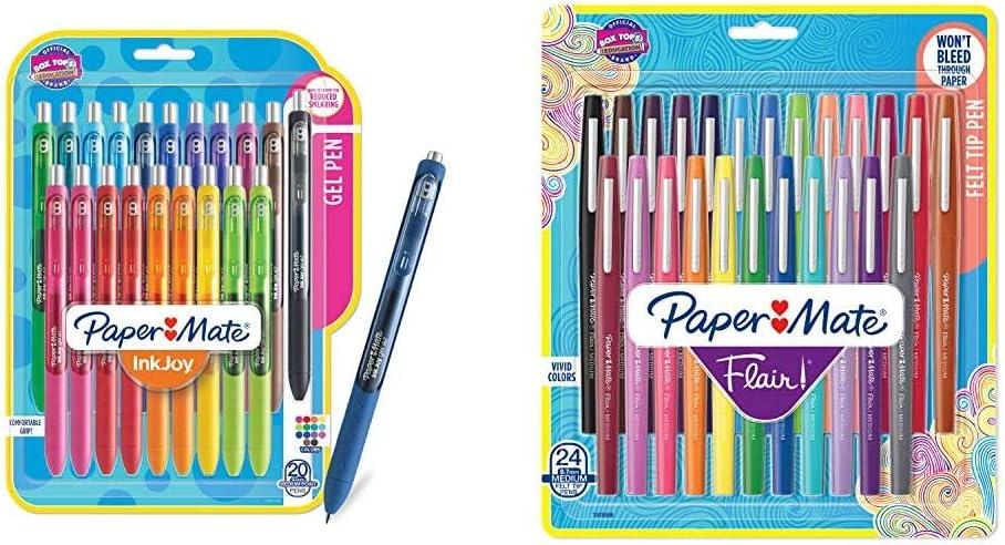 Paper Mate Gel Pens, InkJoy Pens, Medium Point, Assorted, 20 Count & Mate Flair Felt Tip Pens, Medium Point (0.7mm), Assorted Colors, 24 Count