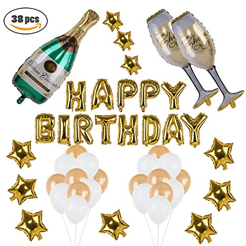 Kwayi Happy Birthday Decoration Set. Gold Balloon Party Supplies With Large Champagne Foil Balloons Gold Stars And Latex Balloons 38Pcs For Birthday Supply - Birthday Balloon Set