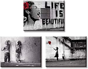 Canvas Wall Art for Bedroom, PIY Life is Beautiful, Girl with Red Balloon & Graffiti Boys on Street Pictures, Modern Pop Prints Artwork Decor (1