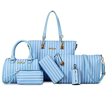 Yiyida Leather Women Handbag Set Vertical bar Pattern Ladies Hobo Crossbody  Bag and Purse 6pcs  dfc45b230cd0e