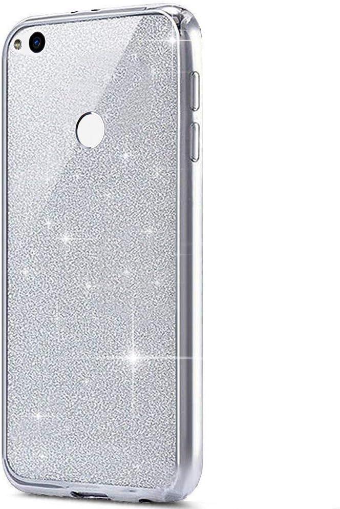 Felfy Kompatibel mit Huawei P8 Lite 2017 H/ülle Glitzer Gl/änzend Handyh/ülle Weich Silikon Case Cover Perfekte Passform Schutzh/ülle Ultra Slim Sto/ßfest Smartphone Tasche H/üllen,Schwarz 2 in 1