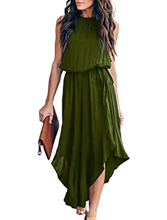 f1a3b745e74c Mlebr Womens Elegant Formal Loose Summer Fashion Casual Chiffon Halter  Sleeveless Slit Midi Flowy Dresses Army