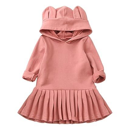Bebé niña vestido rosa conejo oído con capucha Simple Robe V múltiple Tops Outfit para 3