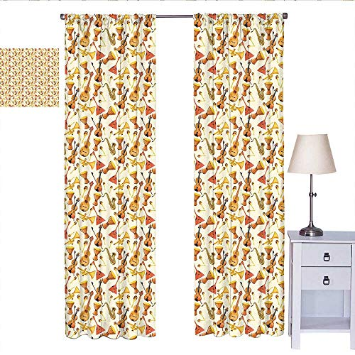 W Machine Sky Jazz Music Blackout Curtain Pattern with Horn Drum Guitar and Fiddlestick Folk Music Ensemble Instruments Curtain Panels Multicolor W84 x L84]()