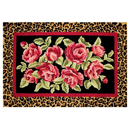 C&F Home Roses with Leopard Print Hooked Rug, 2' x 3' , B...