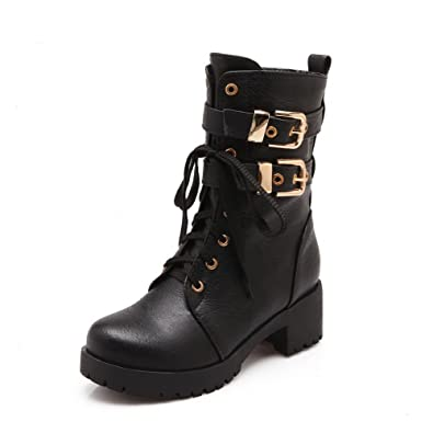 Women's Solid High Heels Round Closed Toe PU Zipper Boots With Metal