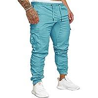 SOMTHRON Hombre Pantalón Cinturón de Cintura elástico Pantalones de chándal de algodón Largo Jogging Pantalones de Carga…