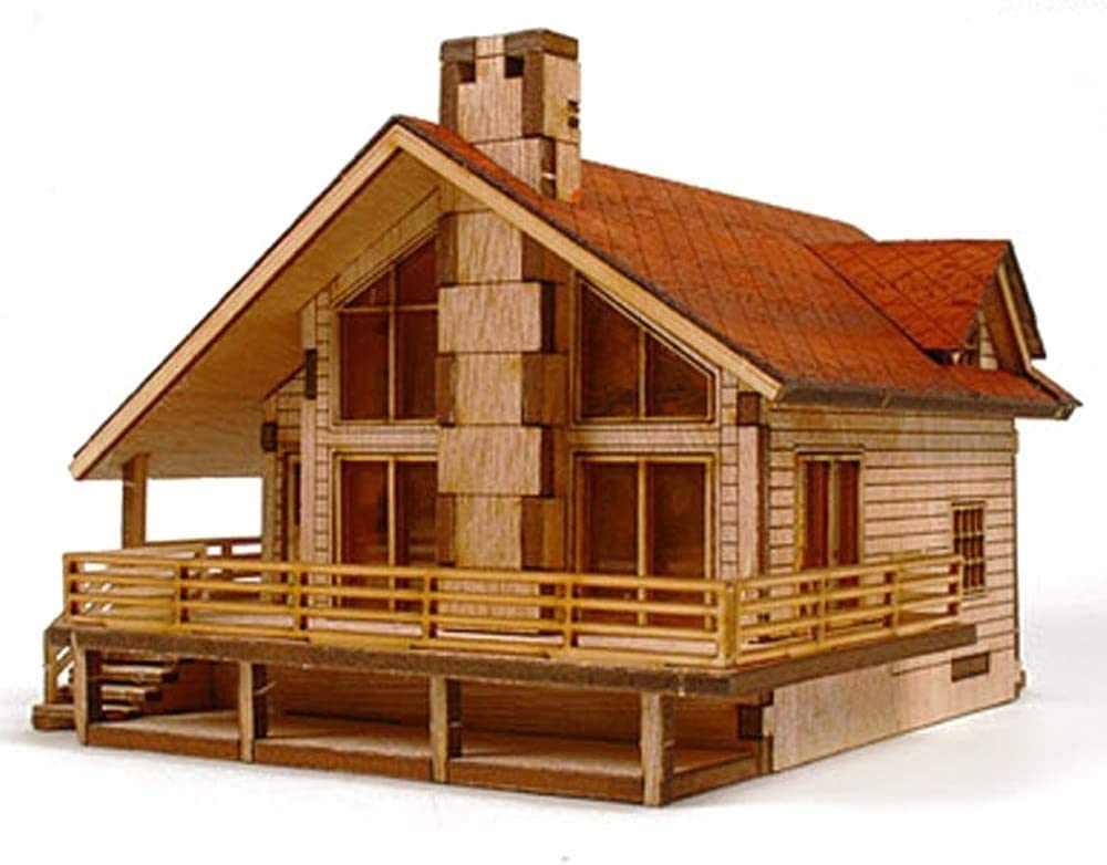 Young Modeler HO Serises Desktop Wooden Model Kit_Garden House A with a Large Deck(YM 633) : Miniature Catapult Kit,Model Building Kits Hobby Toy Game Made in Korea