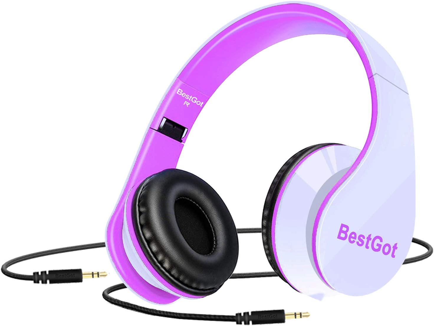 [2019 Upgrade] BestGot Kids Headphones for Kids Adult Foldable Headphones with 3.5mm Plug Removable Cord (White/Pink) (Without Cloth Bag and Microphone)