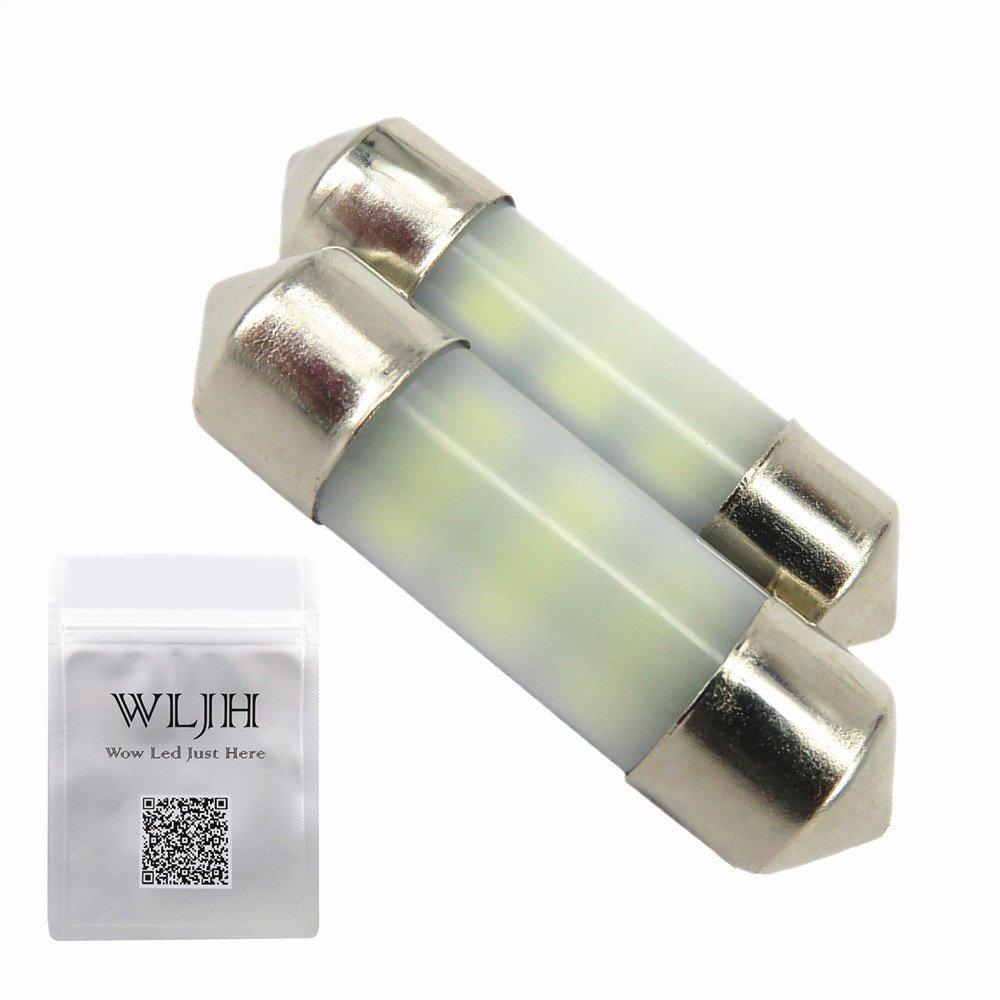 WLJH 2pcs 36mm festoon led white bulb 12 SMD 12V Interior License Plate Cargo Area Side Door Courtesy Lights C5W DE3423 DE3425 6411
