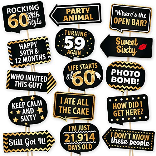 60th Birthday Photo Booth Props By PartyGraphix - European Made Black And Gold 60th Birthday Decorations For Men And Women - Easy To Assemble 60th Birthday Photo Props Kit Includes 15 Pieces -