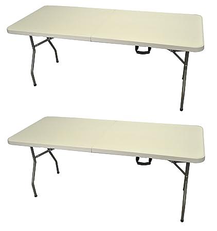 180 Cm Blanc Table Pliante Avec Treteaux Cuisine Maison