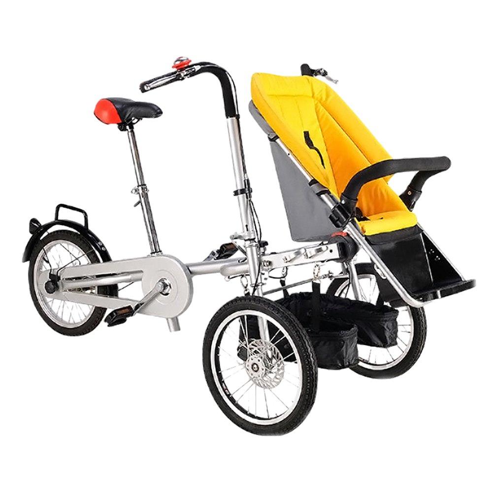 Nice Days(ナイス ディズ)  折りたたみ式 ベビーカー 三輪車 両用 ベビーバギー 三輪自転車 (黄) B073RDTKNB 黄 黄