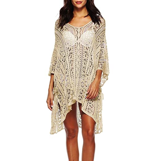 3c3ea3fd2eabf Outsta Women Knitting Bathing Cover up Hollow Out Bikini Crochet Smocked Beach  Swimsuit Swimwear Cover up