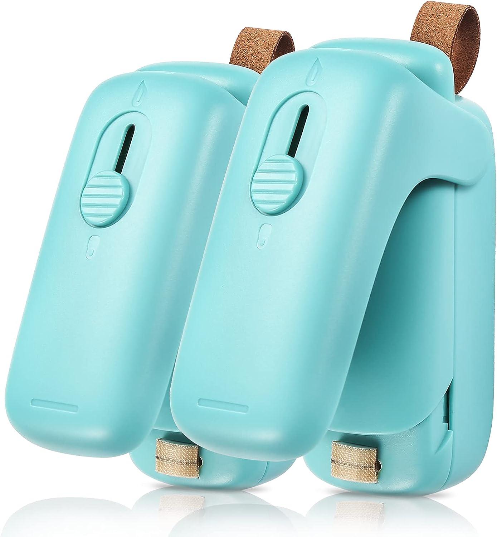 Mini Bag Sealer, 2 in 1 Portable Sealer & Cutter, Heat Sealer for Vacuum Sealer Bags, Handheld Bag Heat Resealer Machine for Chip Bags, Plastic Food Bags, Snack & Cereal Bags (Green, Double)
