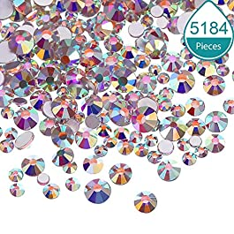 Bememo 5184 Pieces Nail Crystals AB Nail Art Rhinestones Round Beads Flatback Glass Charms Gems Stones, 6 Sizes for Nails Decoration Makeup Clothes Shoes (3 Crystal AB, Mixed SS4 5 6 8 10 12)
