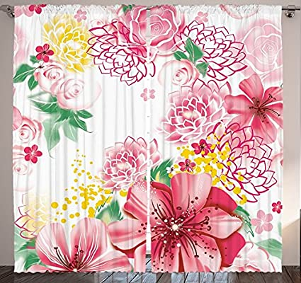 Amazon.com: Ambesonne Flower Decor Curtains by, Ornamental Spring ...