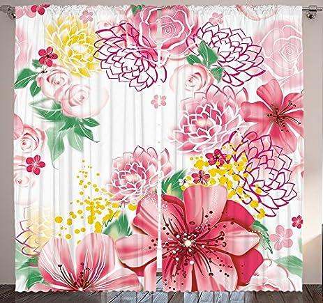 Amazon.com: Flower Decor Curtains by Ambesonne, Ornamental Spring ...