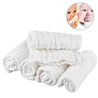 Pretty See Cotton Baby Wipes Soft Newborn Baby Face Towel Natural Baby Muslin Washcloths and Towels for Sensitive Skin, White, Set of 5