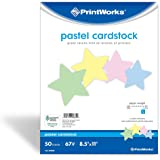 "Printworks Pastel Cardstock, 67 lb, 4 Assorted Colors, FSC Certified, 50 Sheets, 8.5"" x 11"" (00684)"