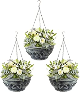 AnRui Hanging Planters Basket Plastic Flower Plant Pots with Chain Home Garden Balcony Decoration for Wall Outdoor Indoor Plants, Cinerous, Pack of 3